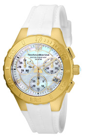 TechnoMarine Women's Cruise Medusa 40mm White Silicone Band Steel Case Swiss Quartz Analog Watch TM-115088