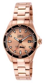 Invicta Women's 15137 Pro Diver Quartz 3 Hand Rose Gold Dial Watch