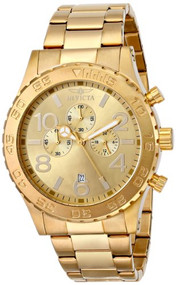 Invicta Men's 1270 Specialty Chronograph Gold Dial 18k Gold Ion-Plated Stainl...