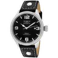 Invicta Men's 1460 Vintage Collection Stainless Steel and Black Leather Wat...