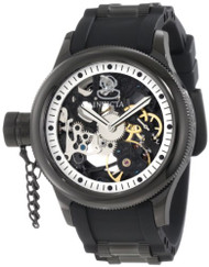 Invicta Men's 1846 Russian Diver Mechanical Black Skeleton Dial Black Polyure...