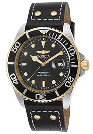 Invicta Men's 'Pro Diver' Quartz Stainless Steel and Leather Automatic Watch, Color:Black (Model: 22074)