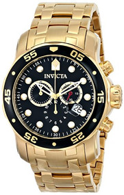 Invicta Men's 0072 Pro Diver Collection Chronograph 18k Gold-Plated Watch Inv...