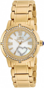 Invicta 16709 Angel Crystal Hearts Gold Tone Bracelet Watch