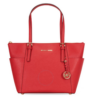 Michael Kors Jet Set E/W Top-Zip Tote, Silver Hardware (Bright Red) 30F2STTT8L-204