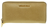 Michael Kors Women's Jet Set Travel Continental Saffiano Wristlet Leather Wallet Baguette - Pale Gold 32S5MTVE9M-740