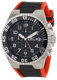 Invicta Men's 12412 Pro Diver Chronograph Black Dial Black and Red Polyurethane Watch