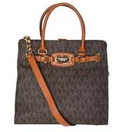 Michael Kors MK Signature PVC Hamilton NS Large Satchel Tote Handbag Mocha 35H1GHMT7B-200