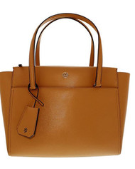Tory Burch Women's Small Parker Leather Top-Handle Bag Tote - Cardamom/Beige  37744-243