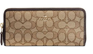 Coach Women's Signature Slim Accordion Zip Wallet, Light Gold, Khaki, Brown, OS 53729-LIC7C