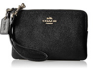COACH Women's Crossgrain Leather Small Wristlet Li/Black Handbag 57768-LIBLK
