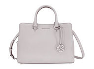 Michael Kors Savannah Medium Leather Satchel - Pearl Grey