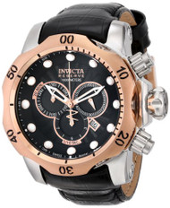 Invicta Men's 0360 Reserve Collection Venom Chronograph Black Leather Watch I...