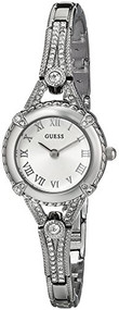 GUESS Women's U0135L1 Petite Crystal Accented Silver Tone Watch