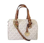 Michael Kors Grayson Medium Chain Satchel Signature (Vanilla/Acorn) … 35F7GGYS2B-149