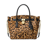 MICHAEL Michael Kors Hamilton Large Leopard Calf Hair Satchel , Butterscotch 30F7GHMS7H-226
