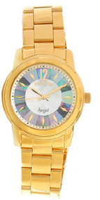 Invicta Angel Mother Of Pearl Dial Gold Ion-Plated Stainless Steel Ladies Wat...