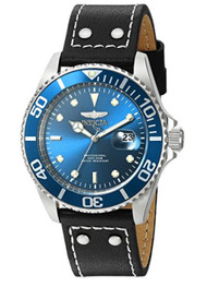 Invicta Men's 'Pro Diver' Quartz Stainless Steel and Leather Watch, Color:Black (Model: 22068) …
