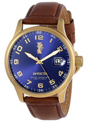 Invicta Men's 15255 I-Force 18k Gold Ion-Plated Stainless Steel and Brown Leather Watch …