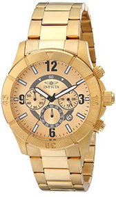 Invicta Men's 1423 Specialty Chronograph Gold Dial 18K Gold Ion-Plated Stainless Steel Watch