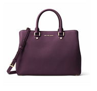 Michael Kors Savannah Large Saffiano Leather Satchel - Purple - 30S6GS7S3L-599