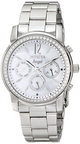 Invicta Women's 11768 Angel Crystal Accented Mother-Of-Pearl Dial Stainless S...
