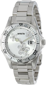 Invicta Women's 12506 Pro Diver Silver Dial Crystal Accented Stainless Steel ...