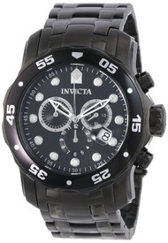 Invicta Men's 0076 Pro Diver Collection Chronograph Black Ion-Plated Stainles...