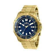 Invicta Men's 48mm Pro Diver Quartz Blue Web Dial 18K Gold Plated SS Watch 25793