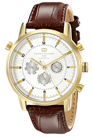 Tommy Hilfiger Men's 1790874 Gold-Plated and Brown Croco Leather Strap Watch ...