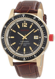 red line Men's RL-50013-YG-01-BR Meter Automatic Black Dial Brown Leather Wat...