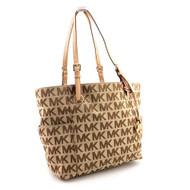 MICHAEL Michael Kors E/W Signature Tote,Beige/Ebony/Mocha,one size [Shoes]