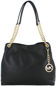 Michael Kors Jet Set Chain Large Leather Shoulder Tote Purse Black 30S5GTCE3L-001