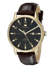Tommy Hilfiger Men's 1710329 Gold-Tone Watch with Brown Leather Strap