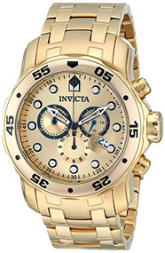 Invicta Men's 0074 Pro Diver Chronograph 18k Gold-Plated Stainless Steel Wa...