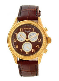 Angel Chronograph Gold Tone Stainless Steel Case Leather Bracelet Brown Tone ...