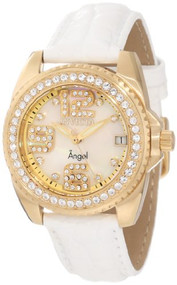 Invicta Women's 1117 Wildflower Mother of Pearl Dial White Leather Watch