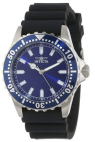Invicta Men's Quartz Watch with Blue Dial Analogue Display and Black Silicone...