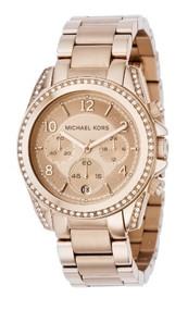 Michael Kors MK5263 Women's Rose Gold Runway Glitz Blair Chronograph Watch Mi...