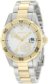 Invicta Women's 12287 Pro Diver Silver Heart Dial Two Tone Stainless Steel Wa...