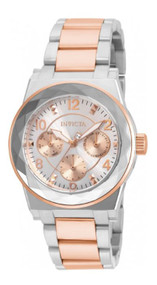 Invicta Women's Angel Rose Gold-Tone Steel Bracelet & Case Quartz Silver-Tone Dial Analog Watch 22109