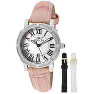 Invicta Women's 13967 Wildflower Watch Set Silver Dial Pink Leather Watch wit...