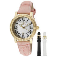 Invicta Women's 13968 Wildflower Watch Set Silver Dial Gold Case Pink Leather...