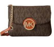 Michael Kors Fulton Flap Gusset Monogram Crossbody Brown