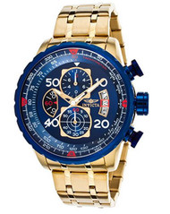 Invicta 19173 Men's Aviator Chronograph 18K Gold Plated Steel Blue Dial Watch