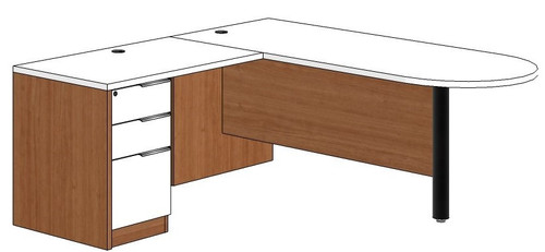 Bullet Peninsula L-Shaped Desk with Left Return