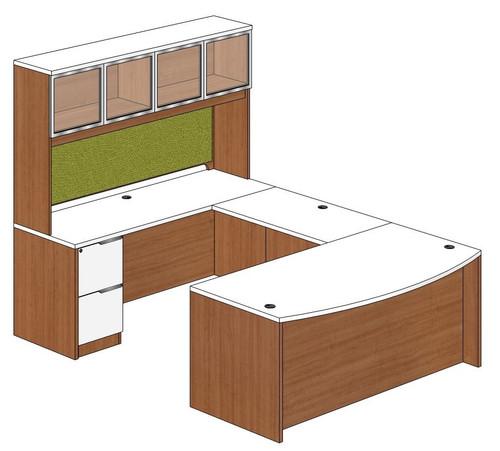Bow Front U-Shape Desk with Aluminum Framed Door Hutch and Left Bridge