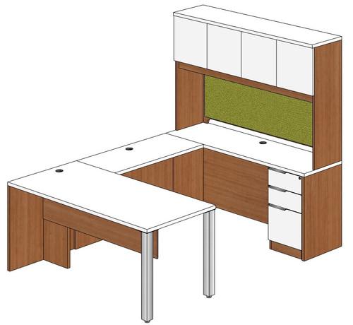 Rectangular Peninsula U-Shape Desk with Hutch and Right Bridge