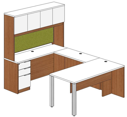 Rectangular Peninsula U-Shape Desk with Hutch and Left Bridge