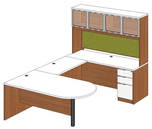 Bullet Peninsula U-Shape Desk with Aluminum Frame Door Hutch and Right Bridge